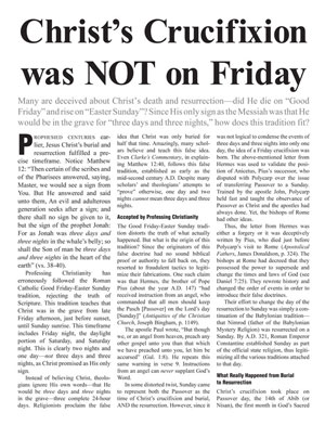 Christ's Crucifixion Was Not on Friday