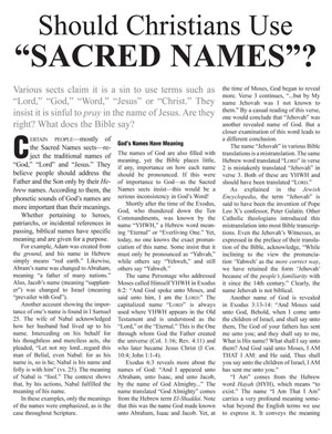 "Should Christians Use ""Sacred Names""?"