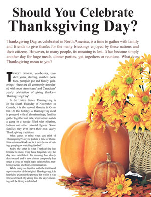 Should You Celebrate Thanksgiving Day?