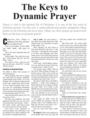 The Keys to Dynamic Prayer