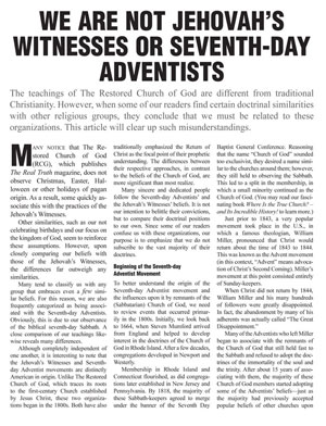 We Are Not Jehovah's Witnesses or Seventh-Day Adventists