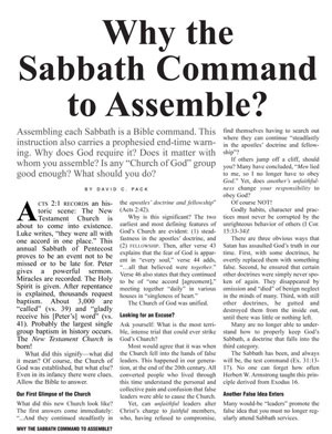 Why the Sabbath Command to Assemble?