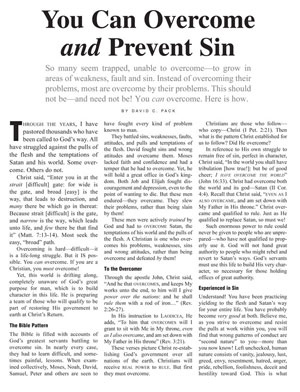 You Can Overcome and Prevent Sin