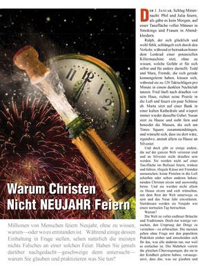 Warum Christen Nicht Neujahr Feiern