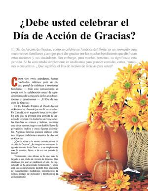 ¿Debe usted celebrar el Día de Acción de Gracias?