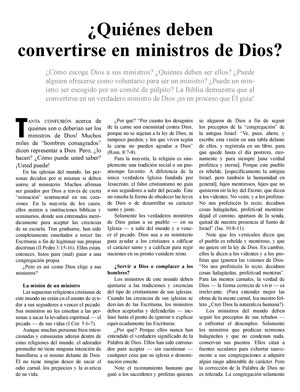 ¿Quiénes deben convertirse en ministros de Dios?