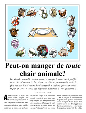 Peut-on manger de toute chair animale?