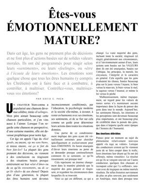 Êtes-vous émotionnellement mature?
