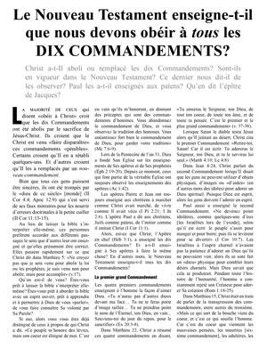 Le Nouveau Testament enseigne-t-il que nous devons obéir à tous les dix Commandements?