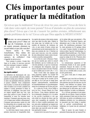 Clés importantes pour pratiquer la méditation