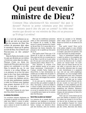 Qui peut devenir ministre de Dieu?