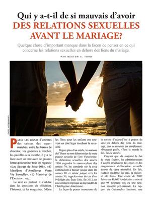 Qui y a-t-il de si mauvais d'avoir des relations sexuelles avant le mariage?